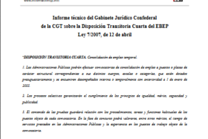 Informe técnico sobre la Disposición Transitoria Cuarta del Estatuto Básico del Empleado Público (EBEP), Ley 7/2007, de 12 de abril