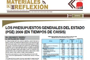 Materiales de Reflexión 61. Presupuestos Generales del Estado 2009 (En tiempos de crisis)