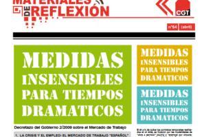 Materiales de Reflexión 64: «Medidas insensibles para tiempos dramáticos»