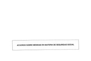 Acuerdo sobre medidas en materia de Seguridad Social