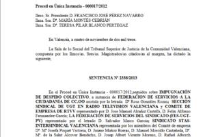 Impugnación de despido colectivo contra Radio Televisión Valenciana (RTVV) y las empresas Radio Autonomía Valenciana, S.A. (RAV) y Televisión Autonómica Valenciana, S.A. (TVV)
