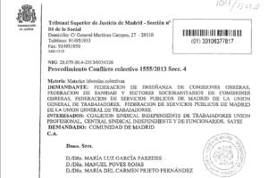 Conflicto colectivo de impugnación de las Instrucciones del Director General de la Función Pública en materia de jornada de los empleados públicos durante 2013
